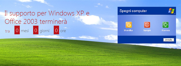 termine supporto per Windows XP e Office 2003